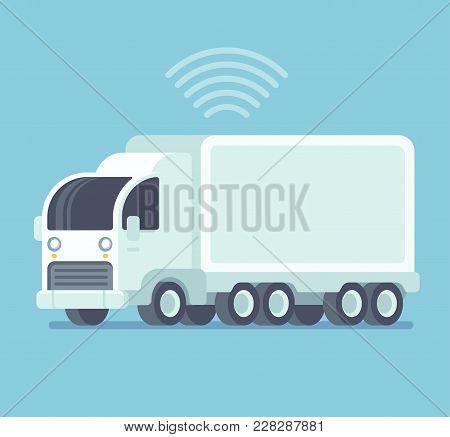 Futuristic White Autonomous Self-driving Semi Trailer Truck. Future Of Cargo Shipping And Automation