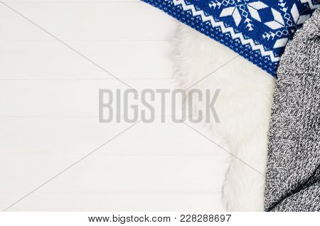 White Planks With Wood Texture Pattern And Fur Background With Copy Space. Horizontally Oriented Pla