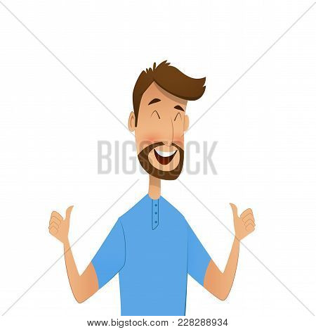 Happy Cartoon Man Shows Gesture Cool. Vector Illustration In Cartoon Style