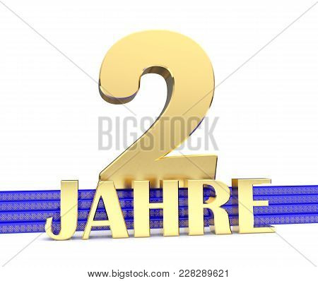 Golden Number Two And The Inscription Years On The Blue Stairs With Golden Symbols Endless Knot. Tra