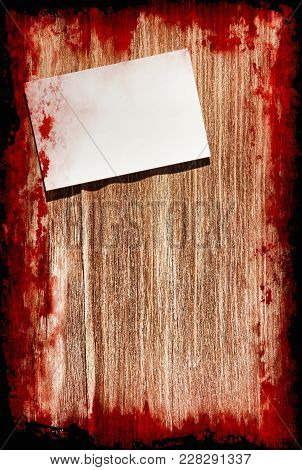 Halloween Background.suicide Bloody Note On Grunge Wooden Background With Black Frame Taken Closeup.