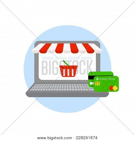 Laptop Online Shopping Online Store Credit And Payment Cards Isolated On White Background. Online Sh