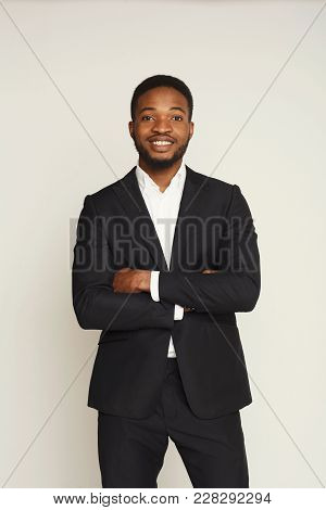 Happy Smiling Young Black Man Portrait In Formal Wear At White Studio Background, Crop