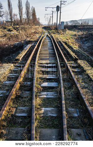 Old Railroad In Springtime. Lovely Transportation Background