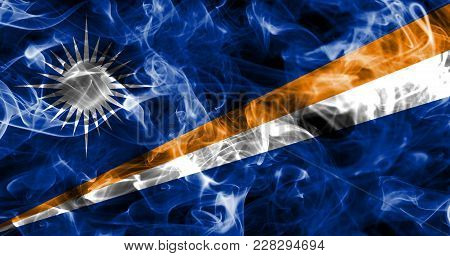 Marshall Islands Smoke Flag Isolated On A Black Background