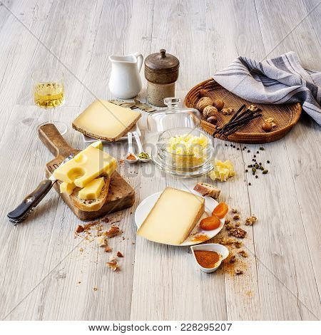 Tasted Swiss Cheese And Food For Brunch Or Apperitive Instant