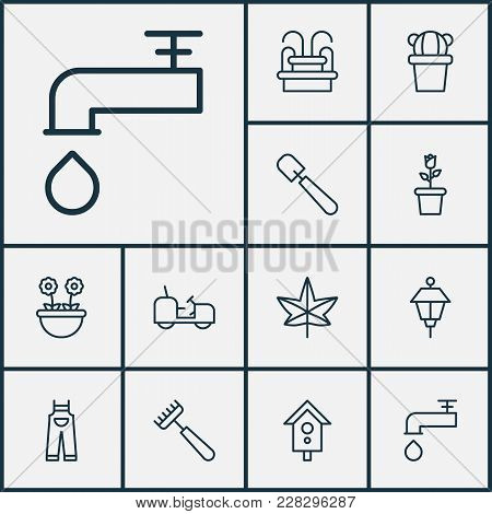 Gardening Icons Set With Leaf, Floret, Park Lamp And Other Garden Clothes Elements. Isolated Vector