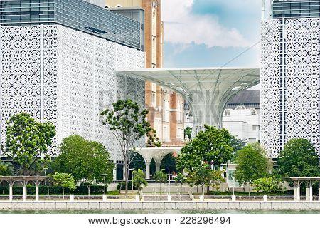 Cyberjaya, Selangor, Malaysia, 02/23/2018: Detail Of Modern Oriental Architecture Kompleks Islam Put