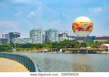 Modern City Landscape - Attraction Flying In Hot Air Balloon In Skyrides Festivals Park Putrajaya Wi