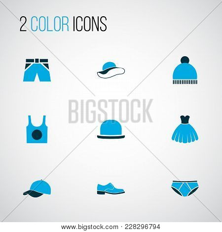 Clothes Icons Colored Set With Fedora, Singlet, Underpants And Other Beanie Elements. Isolated Vecto