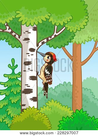 Cute Woodpecker Sitting On A Tree And Knocks.