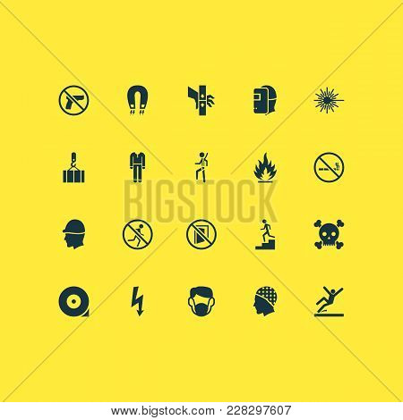 Sign Icons Set With Slippery Area, Welder, Staircase And Other Injury Elements. Isolated Vector Illu