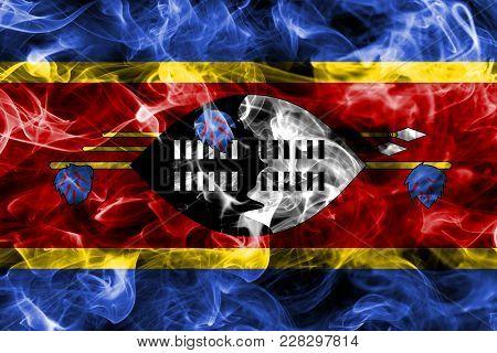 Swaziland Smoke Flag Isolated On A Black Background