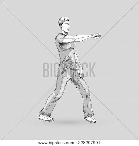 Modern Style Dancer Sketch Of A Man Hip Hop Choreography On Gray