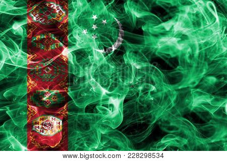 Turkmenistan Smoke Flag Isolated On A Black Background
