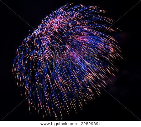 Spectacular Red And Blue Fireworks