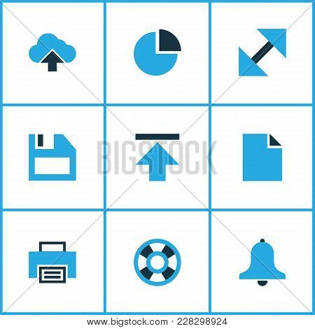 Interface Icons Colored Set With Lifeguard, Floppy Disk, Alarm And Other Enlarge Elements. Isolated