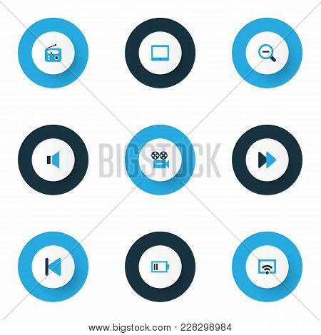 Music Icons Colored Set With Low Battery, Radio, Fast Forward And Other Tuner Elements. Isolated Vec