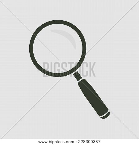 Magnifying Glass Icon. Magnifying Glass Vector Isolated. Flat Vector Illustration In Black. Eps