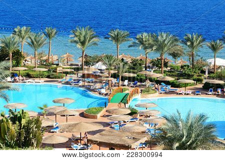 Sharm El Sheikh, Egypt -  December 1: The Tourists Are On Vacation At Popular Hotel On December 1, 2