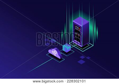 Cloud Hosting Upload To Storage Server. Violet Crystal Background. Isometric Art Vector Design.