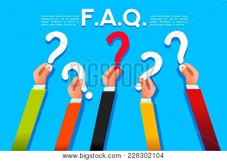 Faq Ask Concept In Flat Style. Query Symbol With Question Mark. Vector Design.