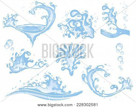Collection Of Vector Water Splashes And Bubbles