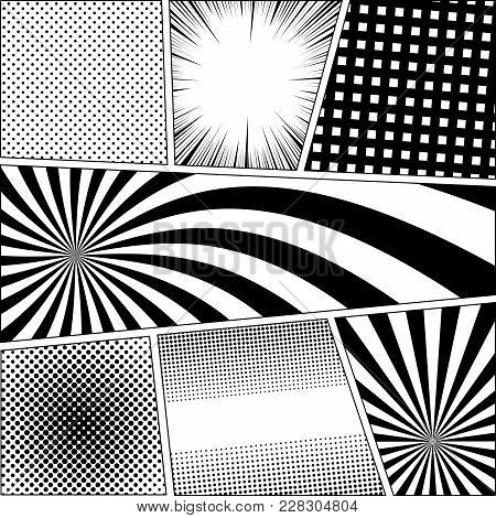Comic Book Page Monochrome Background With Radial Dotted Rays Halftone Grid Humor Effects In Black A
