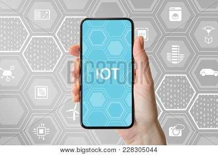 Internet Of Things / Iot Concept With Hand Holding Modern Bezel-free Smartphone In Front Of Neutral