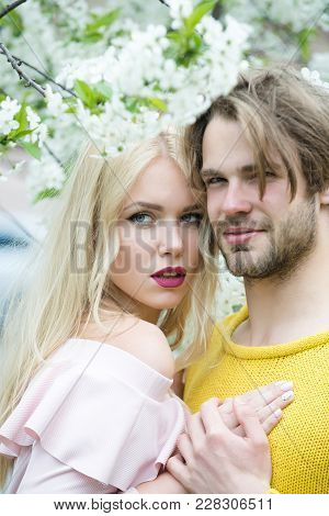 Spring, Nature, Environment. Love And Romance, Relationship, Happy Couple. Man And Woman In Spring,