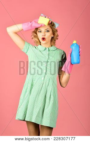 Cleaning, Retro Style, Purity. Cleanup, Cleaning Services, Wife, Gender. Pinup Woman Hold Soup Bottl