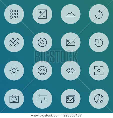 Picture Icons Line Style Set With Picture, Circle, Rotate Left And Other Center Focus Elements. Isol