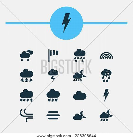 Climate Icons Set With Snow, Thundershower, Sleet And Other Thunderstorm Elements. Isolated  Illustr