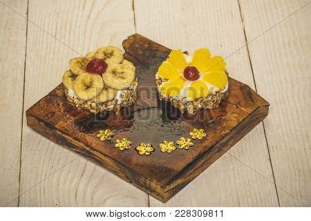 Pastries With Fruit Topping In Caramel Sauce On Wooden Background. Food, Dessert, Snack. Diet, Healt