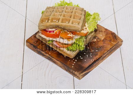Cuisine, Menu, Recipes. Wafer Dish, Breakfast, Lunch. Waffles Sandwich With Chicken, Vegetables And