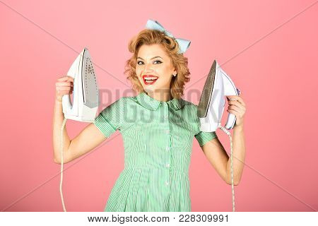 Pinup Woman Hold Iron, Retro Style, Maid. Housekeeper In Uniform With Iron, Household. Order Service