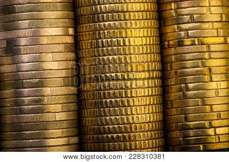 Euro Coins And Euro Cents In Box. Euro Money.  Currency Of The European Union.
