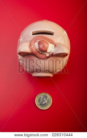 Piggy Bank And Coin One Euro On A Red Background. Cover. Euro Money.  Currency Of The European Union