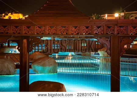 Hurghada, Egypt- February 22, 2010: Night View Of Pool In Luxury Resort In Egypt