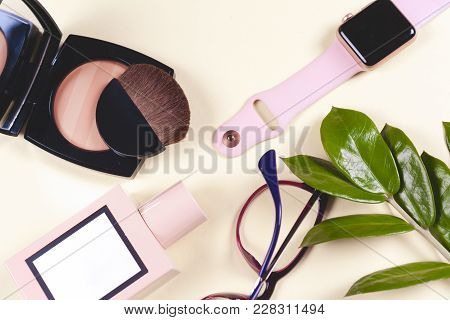 Fashion Women Accessories. Pastel Colors. Trendy Glasses, Perfume, Powder, Flowers.