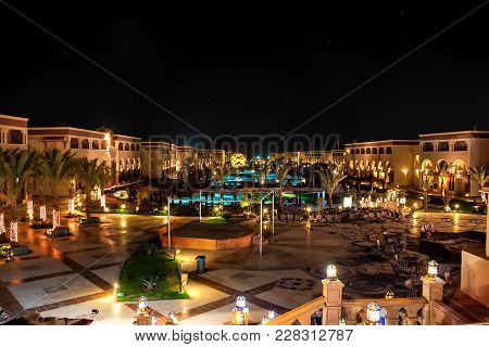 Hurghada, Egypt- February 22, 2010: Night View Of Luxury Resort In Egypt