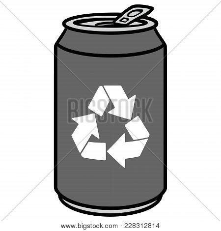 Aluminum Can With Recycle Symbol - A Vector Cartoon Illustration Of A Aluminum Can With A Recycle Sy