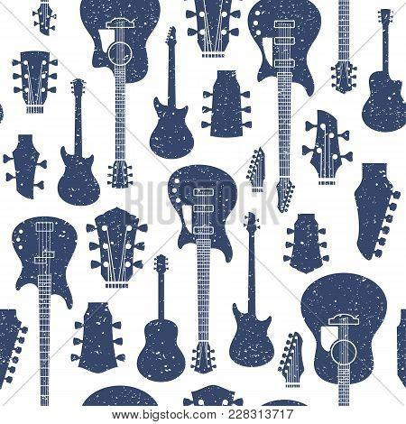 Retro Styled Vector Guitars Seamless Pattern Or Background