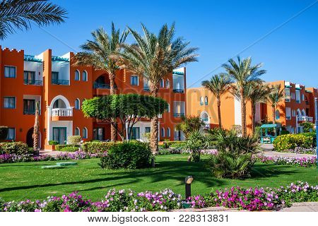 Hurghada, Egypt- February 22, 2010: Facade Of Luxury Resort Hotel In Egypt