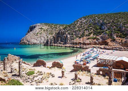 Cala Domestica, Sardinia - August 2017 - Cala Domestica Beach, Costa Verde,  Sardinia, Italy. Sardin