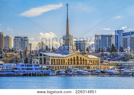 Sochi, Russia - January 26, 2016: The Seaport In A Snow Captivity.