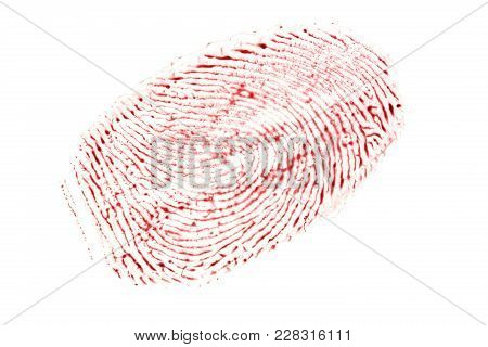 Bloody Fingerprint Isolated On A White Background.