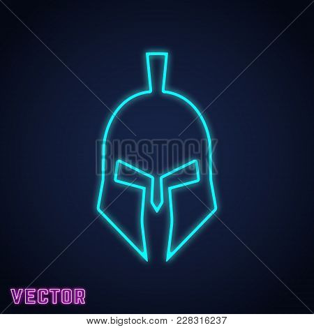 Spartan Helmet Sign Neon Light Design. Vector Illustration.