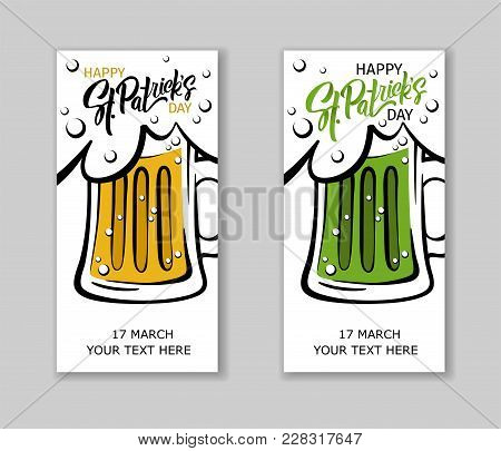 Set Of St. Patrick's Day Party Flyers.  Illustration Of A Beer Mugs With Lettering St. Patrick's Day