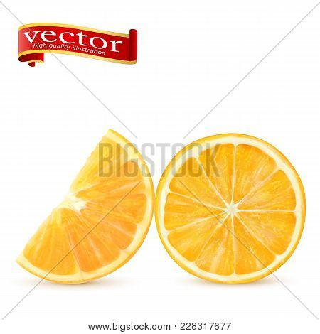Ripe Juicy Sweet Orange Slices Vector Realistic 3d Illustration High Detail. Orange Slice Isolated O